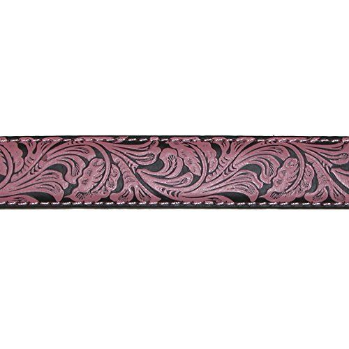 John Deere Girls' Crazy Horse Leather Pink Floral Embossed Belt, Medium Made by #John Deere Color #Crazy Horse Tan. Measures 1.25 inches or 32mm wide. Silver finish buckle is removable. Rhinestones on buckle. Pink scroll work on black background. Solid Crazy Horse Leather end tabs