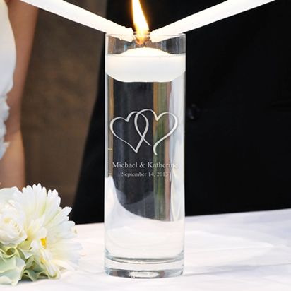 Personalized Two Hearts Floating Unity Candles.