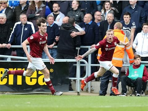 Northampton Town 2  Bristol Rovers 2 : The Cobblers are up! Nicky Adams celebrates his goal which helped gain promotion from League Two