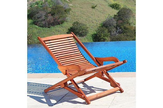 Vifah Malibu Outdoor Wood Folding Lounge Ashley Furniture Homestore Patio Chaise Lounge Outdoor Chaise Lounge Chair Lounge Chair Outdoor