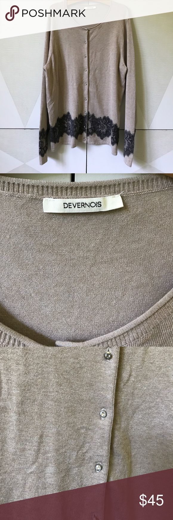Devernois France thin cardigan  beige size 3 NWOT Devernois Sweaters Cardigans