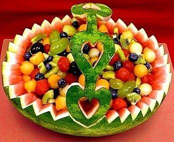 Watermelon Fruit Bowl w/ Handle
