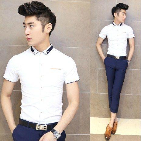 Hot sale fashion men clothing unique collar slim men shirt for Unusual shirts for men