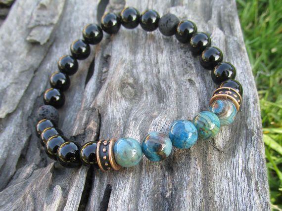 Zwarte Onyx armband sieraden voor mannen Gemstone Bracelet