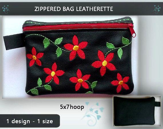 Leatherette purse No.234  5x7hoop  Machine by EmbroideryRady