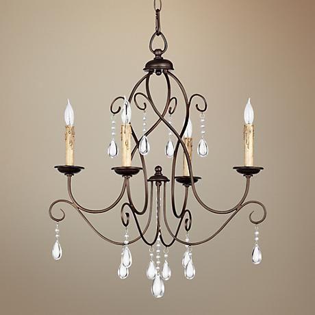 "Dining room? Quorum Cilia 22""W Oiled Bronze 4-Light Chandelier"