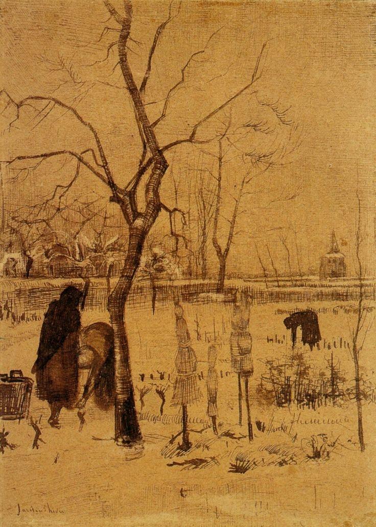 Parsonage Garden in the Snow with Three FiguresbyVincent van Gogh   Medium: ink on paper