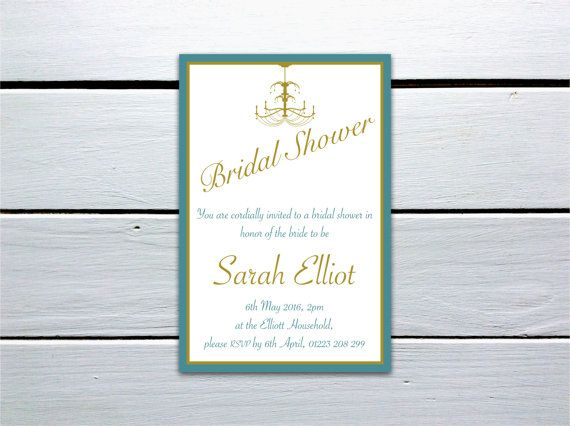 Gorgeous Personalised Printable Bridal Shower Invitation: Gold and Teal Chandelier