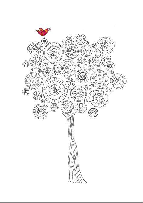 Ilustração da árvore, árvore de cópia da arte, pássaro colorido, natureza cartaz impressão, em preto e branco