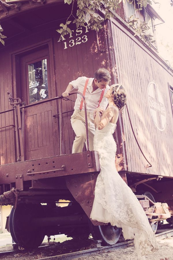 Wedding Portraits on a Vintage Train | Ashley DePencier Photography | See More: http://heyweddinglady.com/country-romance-pastel-spring-wedd...