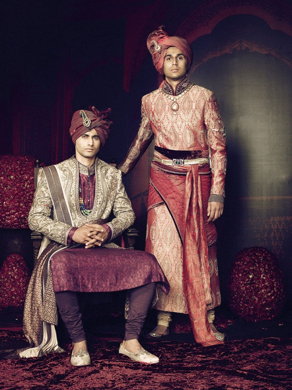 Tarun Tahiliani Don Pedro's formal wear to the party Don Pedro's suit to Hero's funeral (left) and to the party (right)