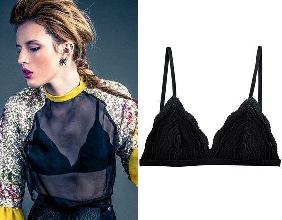 Bella Thorne wears this Cosabella Dolce Soft Bra Chevron lace bralette with adjustable shoulder straps in the photoshoot for 360 Magazine.