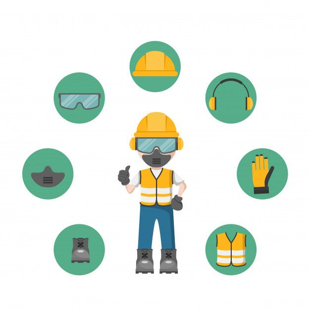 Person With Your Personal Protection Equipment And Industrial Safety Icons Industrial Safety Safety Pictures Health And Safety Poster