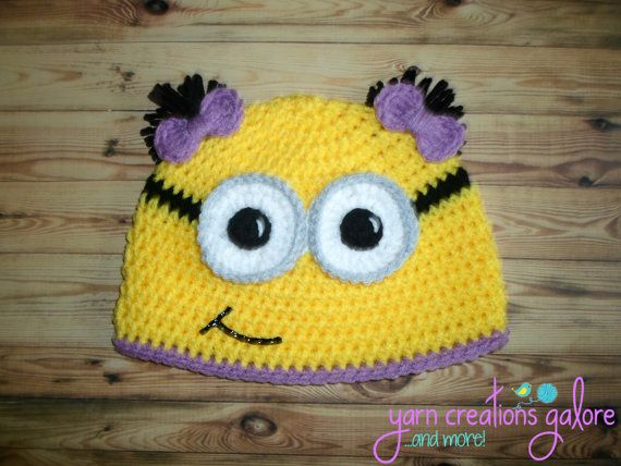 Girl Minion Hat2 Bow Pigtails by YarnCreationsGalore on Etsy, $19.00