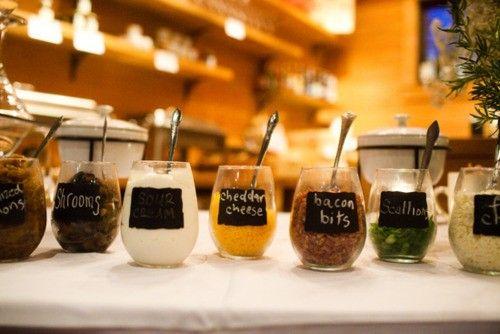 16 Party Bar Ideas: GREAT IDEAS  -cookie bar  -Mashed potato bar  -smores bar  -root beer float bar  -hot chocolate bar  -cupcake bar  -all white candy bar  -colorful candy bar  -oatmeal bar  -cereal bar  -trail mix bar  -pasta bar  -nacho bar  -pizza bar  -yogurt bar  -baked potato bar
