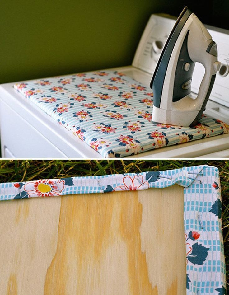 Laundry room organization: quick diy ironing board for touch ups as things come out of the dryer.