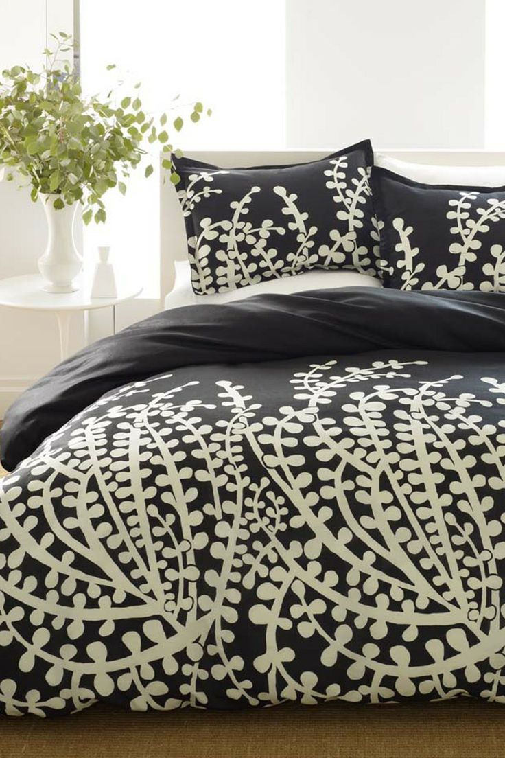 Black and cream floral bedding - City Scene Branches Black Bed In A Bag With Sheet Set