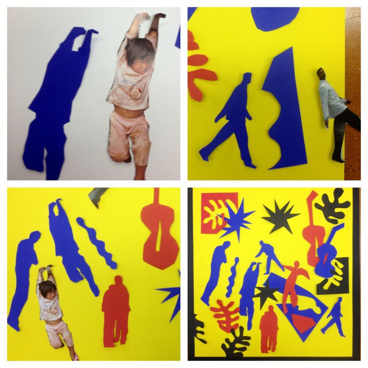 "Matisse cutouts- resources include a handout with familiar Matisse images and magazines with pictures of people. Construction paper is taped behind selected pictures of people in order to create simple figurative shapes. These figures along with many ""Matisse style"" shapes are arranged to create the composition."