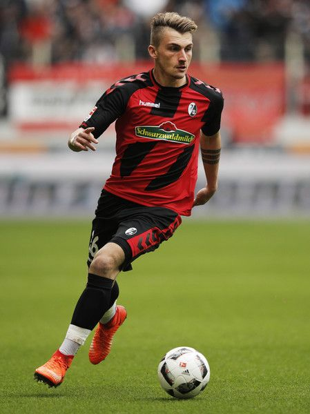 Maximilian Philipp of Freiburg in action during the Bundesliga match between FC Augsburg and SC Freiburg at WWK Arena on March 18, 2017 in Augsburg, Germany.