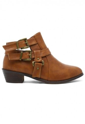 Cutout Buckled Bootie in Camel