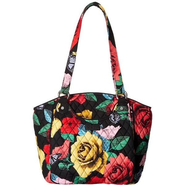 Vera Bradley Glenna (Havana Rose) Tote Handbags ($80) ❤ liked on Polyvore featuring bags, handbags, tote bags, white tote bag, quilted totes, zip top tote bag, quilted handbags and vera bradley tote