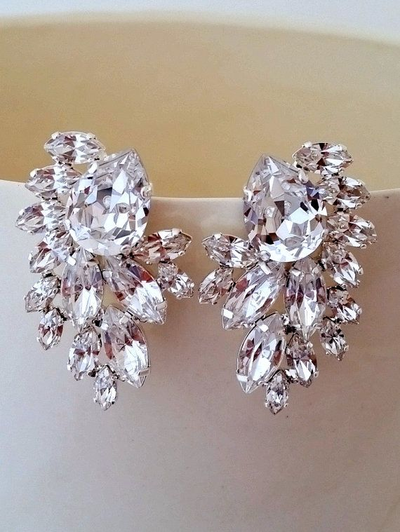 Clear crystal Bridal earrings Crystal by EldorTinaJewelry on Etsy | http://etsy.me/1Pg1A7r