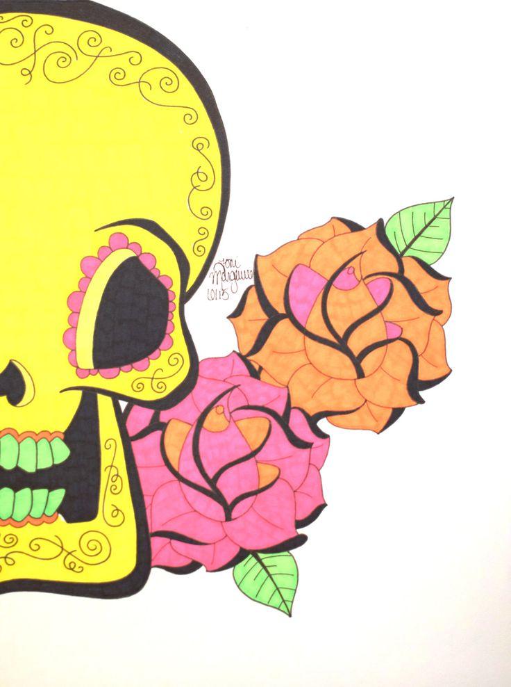 Sugar Skull Art, Day of the Dead Skull Art, Yellow Sugar Skull, 9x12 inch Drawing, Dia De Los Muertos, Mexican Inspired, Skull Wall Decor