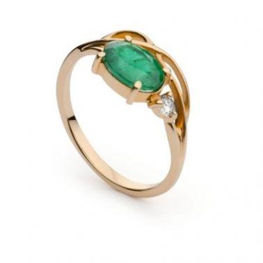 Кольцо с изумрудом из красного золота