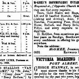 STANWAY, George. Advertisement for Victoria Boarding House, Port Albert. Gippsland Guardian, 31 Oct 1862, p. 2, 'Advertising'.