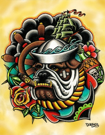 Bull Dog By Tyler Bredeweg Tattoo Art Canvas Giclee Print