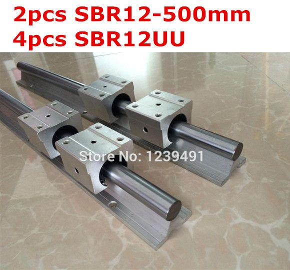2pcs SBR12  - 500mm linear guide + 4pcs SBR12UU block cnc router