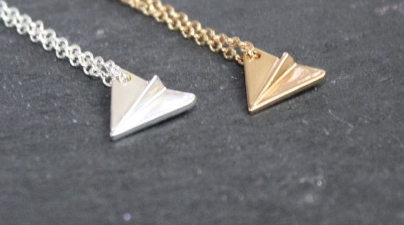 Origami Plane Necklace Silver Aeroplane by PoppyKittenDesigns