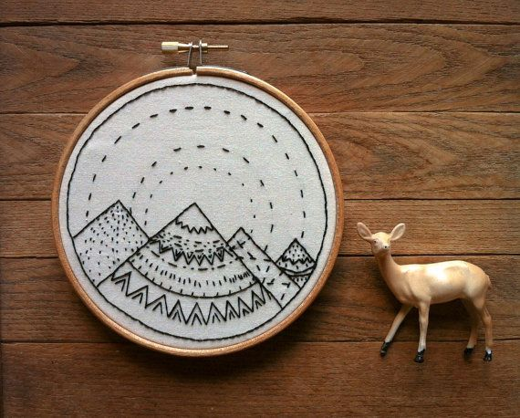 Geometric Hand Stitched Embroidery Hoop Art by powerfulanimals