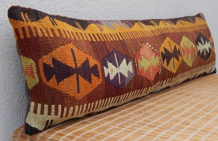 12x48'' Boho Bedding Handwoven Kilim Pillow Cover,Eco Friendly Long Bed Cushion #Handmade