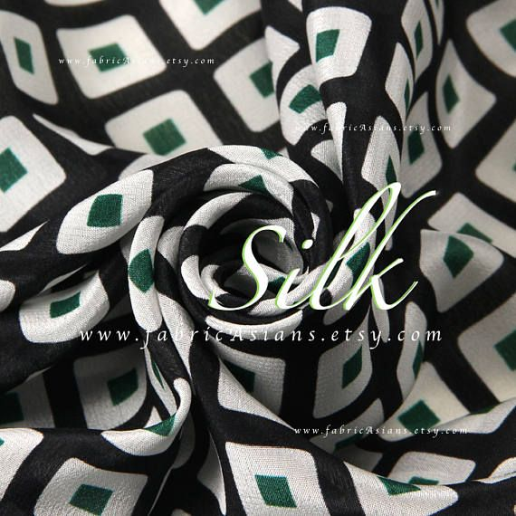 Black White Silk Crepe check fabric by the yard