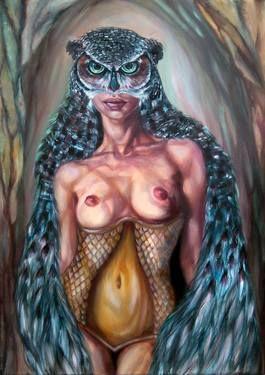 "Saatchi Art Artist Violetta Tar; Painting, ""Owl- eyed Pallas"" #art"