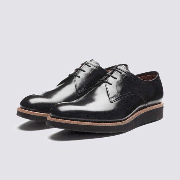 Lennie // http://www.grenson.com/uk/lennie-mens-derby-black-hi-shine-leather-black-wedge-sole.html
