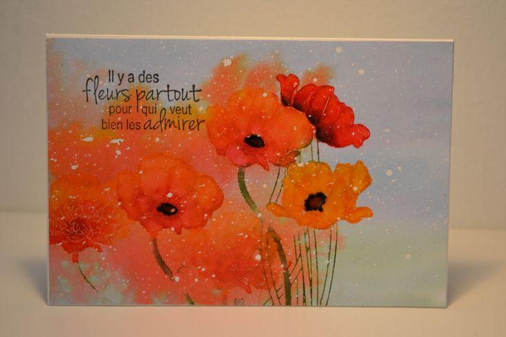 Coquelicots par Micheline Jourdain, artiste invitée, Magenta #card #stamp #stamping
