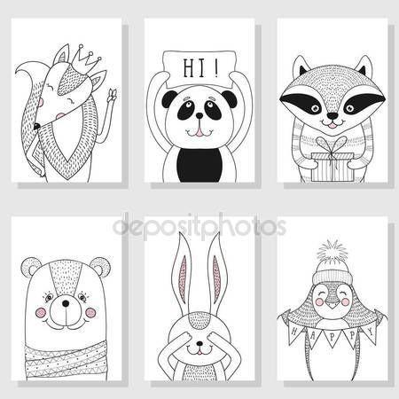 Pobieraj - Dzikie zwierzęta zabawne, dzieci ilustracje. Z życzeniami templa — Ilustracja stockowa #138739002