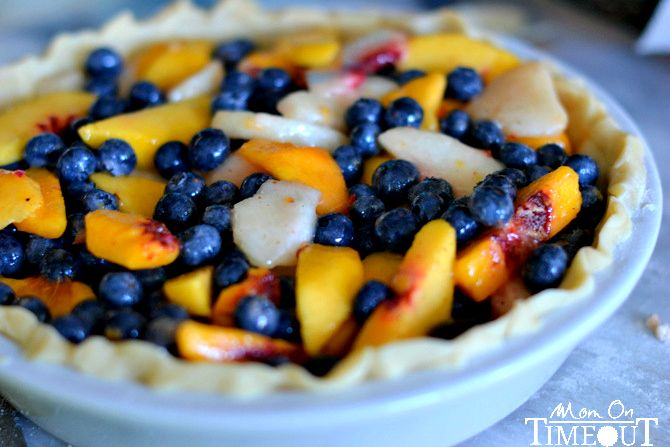 Peach Blueberry Pie with Pecan Streusel topping is made with fresh peaches and blueberries for an extra delicious and fresh pie!