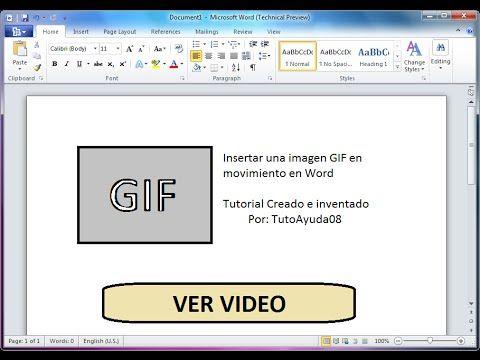 Como insertar una imagen GIF en movimiento en Word - YouTube