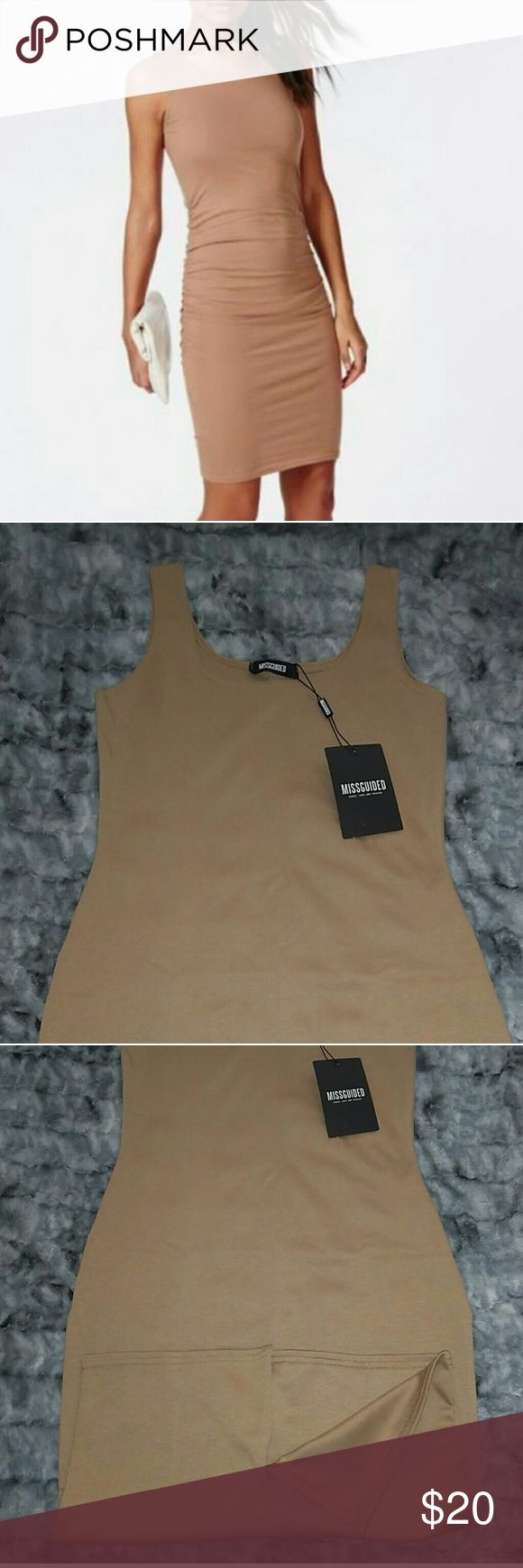 NWT Missguided Camel Bodycon Tank Midi Dress A sexy summer bodycon dress from Missguided that could easily be dressed up with a cream blazer and black pumps for the office or dressed down with statement jewelry for a night out! Thick stretchy jersey material and a scoop neck make this the perfect midi length dress for any occasion. Missguided Dresses Strapless