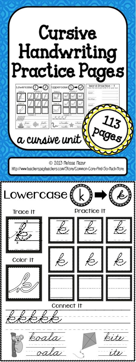 need to do this with MY girls... no cursive taught at ALL in NC :(  ......Uppercase lowercase, and whole word cursive handwriting pages. $