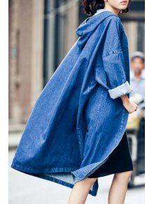 Denim Hooded Long Sleeve Loose Coat