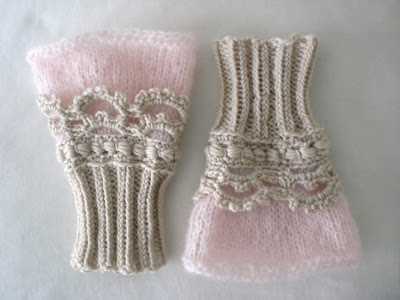 elf clobber | these are beautiful with a combination of knitting and crocheting.   Not sure where I would wear them.  Maybe done in white for a wedding?
