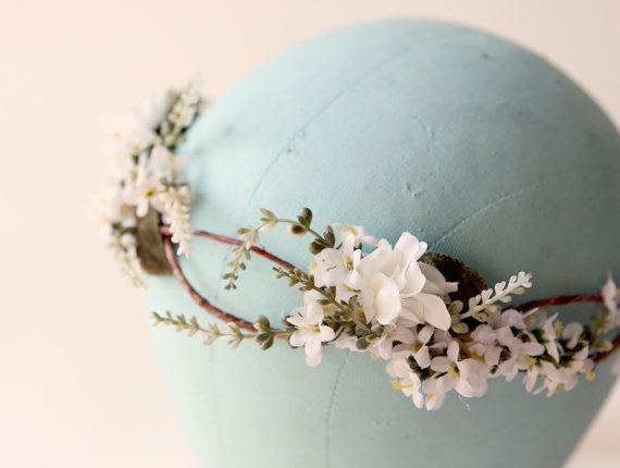 Flower crown Woodland wedding accessory Bridal hair by whichgoose, $88.00