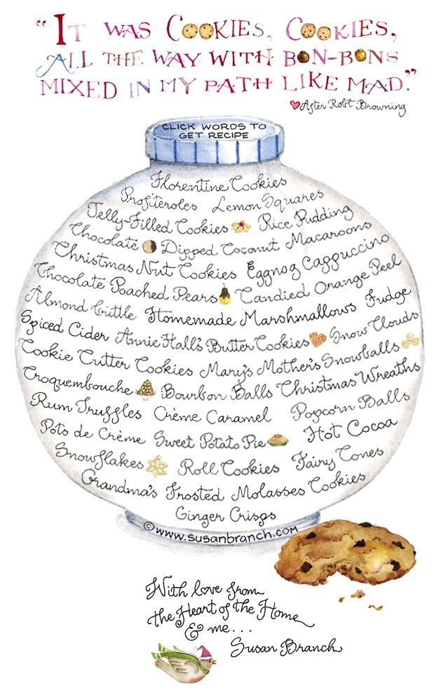 Susan Branch - COOKIES! ღ ღ ღ - click on the item for the recipe...  http://www.susanbranch.com/newsletters/2011-12/#   ღ ✿⊱╮ ღ ✿⊱╮ღ