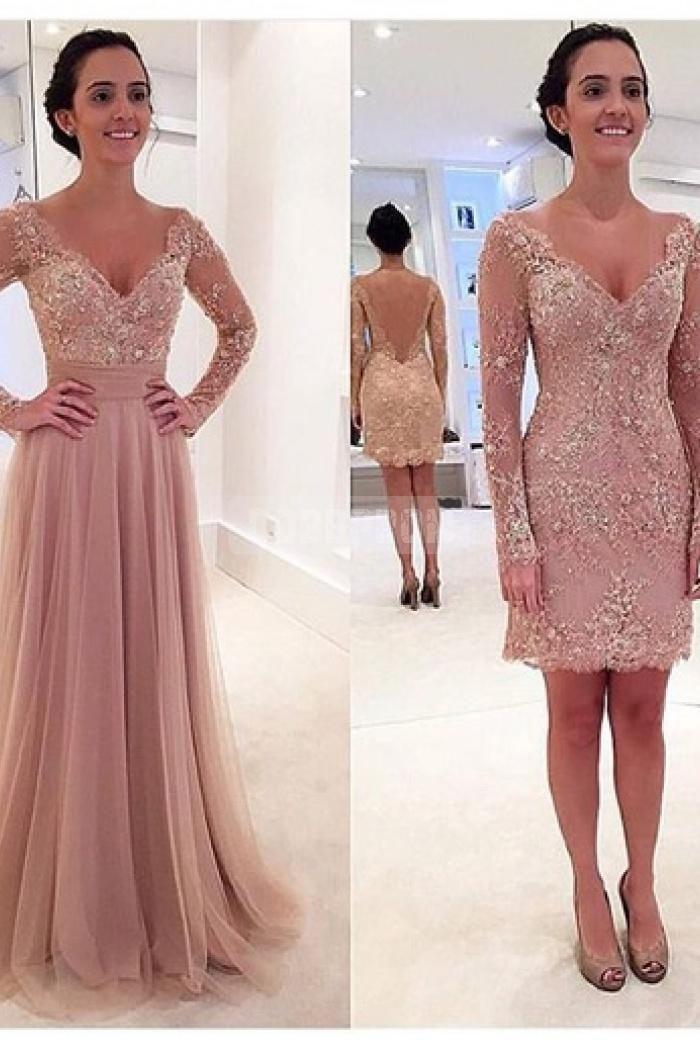 V-neck Long Sleeves Attachable Skirt Evening Dress