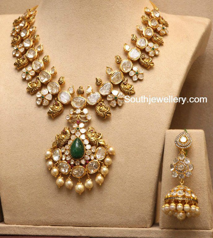 Polki Diamond Peacock Haram and Long Jhumkas