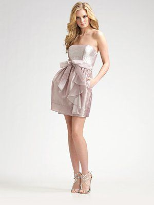 Aidan Mattox Strapless Belted Mini Dress